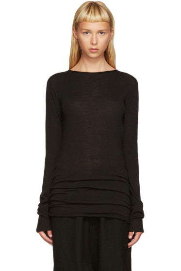 Rick Owens - Black Boat Neck Sweater