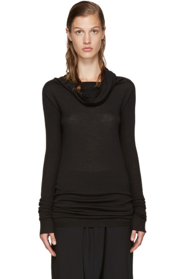 Rick Owens - Black Funnel Neck Pullover