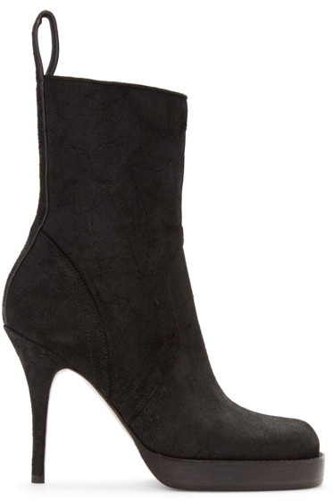 Rick Owens - Black Suede Stiletto Platform Boot