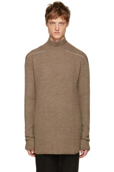 Rick Owens - Beige Mock Neck Sweater