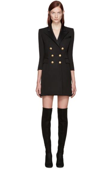 Balmain - Black Double-Breasted Dress