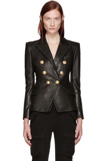 Balmain - Black Leather Blazer