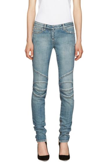 Balmain - Blue Distressed Biker Jeans