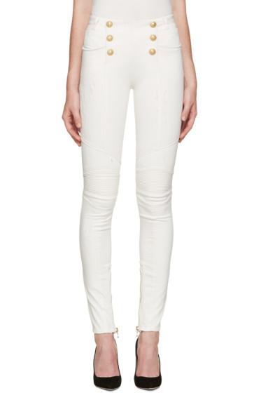 Balmain - White Buttoned Biker Jeans