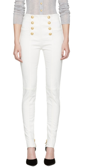 Balmain - White High-Rise Buttoned Jeans