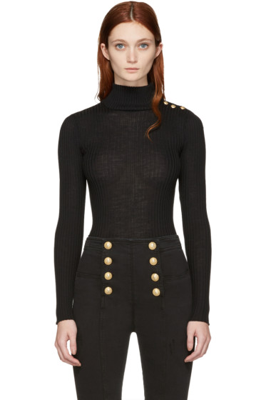 Balmain - Black Wool Mock Neck Pullover