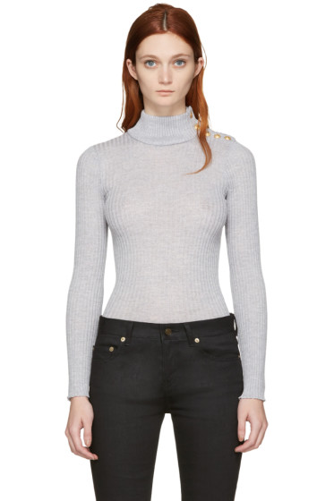 Balmain - Grey Wool Mock Neck Pullover