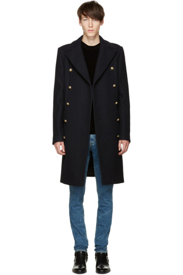 Balmain - Navy Double-Breasted Wool Coat