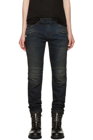 Balmain - Indigo Biker Jeans