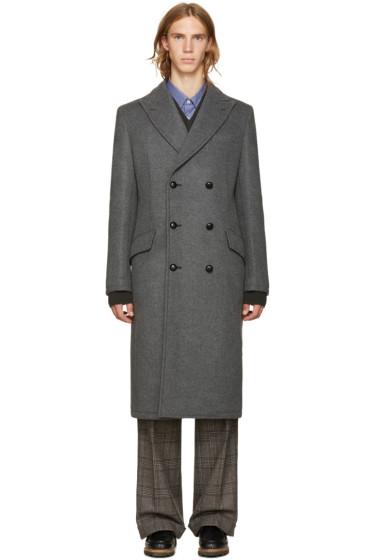 Junya Watanabe - Grey Wool Vinyl Pouch Coat