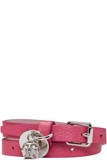 Alexander McQueen - Pink Skull Double Wrap Bracelet