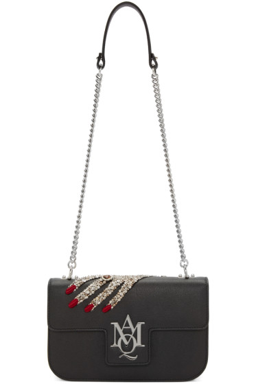Alexander McQueen - Black Jeweled Hand Insignia Satchel