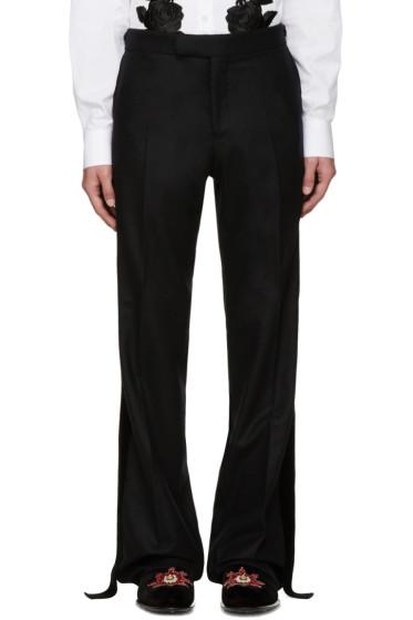 Alexander McQueen - Black Velvet Trim Trousers