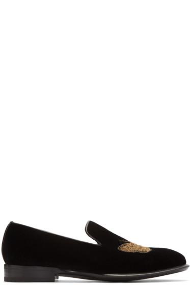 Alexander McQueen - Black Velvet Buttefly Loafers