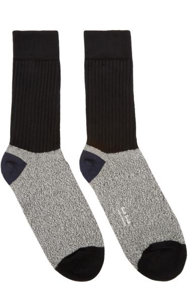 Paul Smith - Black & Grey Rib Socks