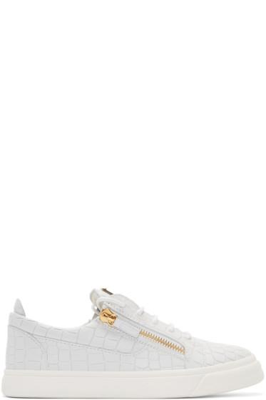 Giuseppe Zanotti - White Croc-Embossed London Sneakers