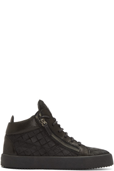 Giuseppe Zanotti - Black Embossed London High-Top Sneakers