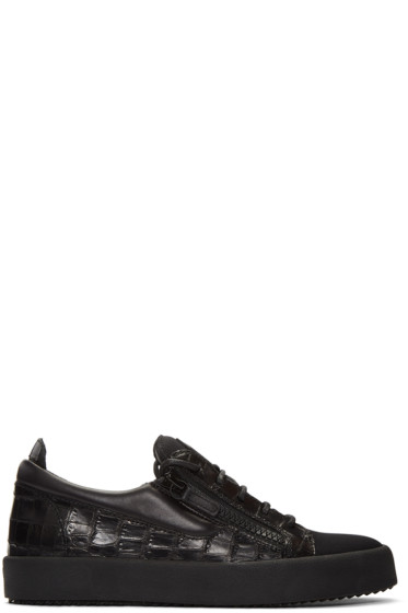 Giuseppe Zanotti - Black Croc-Embossed London Sneakers