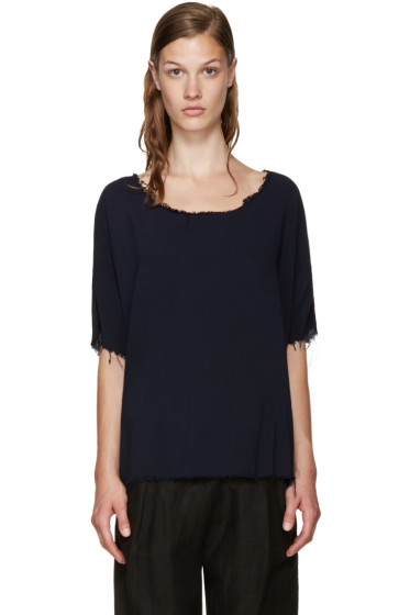 Raquel Allegra - Blue Frayed Blouse