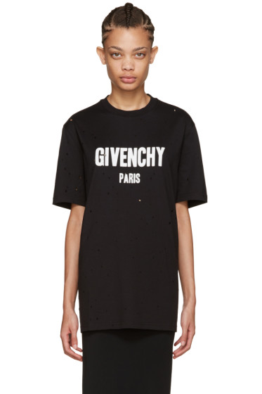 Givenchy - Black Distressed Logo T-Shirt