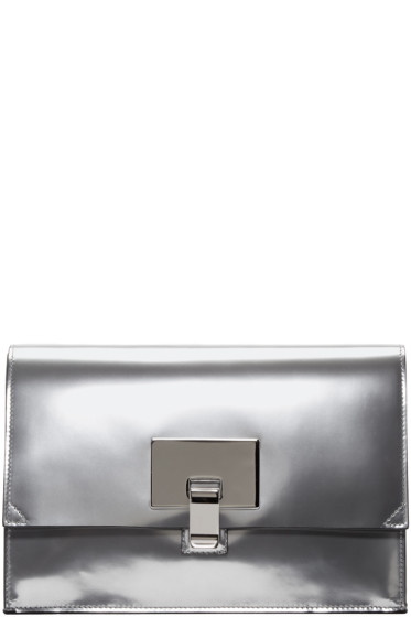 Proenza Schouler - Silver Mirrored Small Lunch Bag Clutch