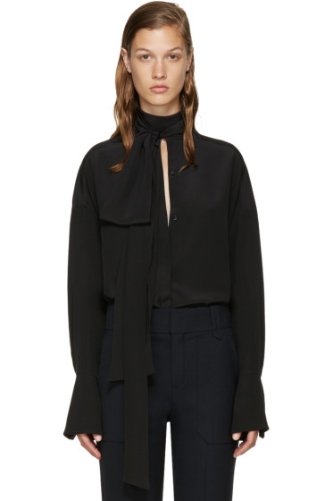 Chloé - Black Neck Tie Blouse
