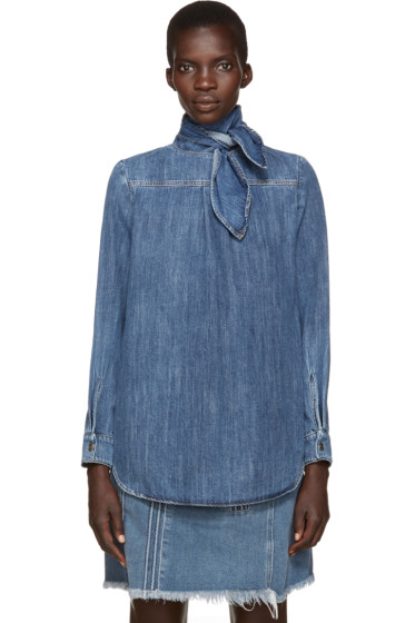 Chloé - Blue Denim Neck Tie Shirt