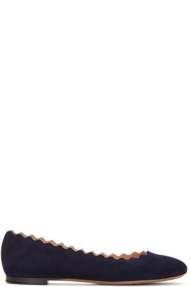 Chloé - Navy Suede Lauren Ballerina Flats
