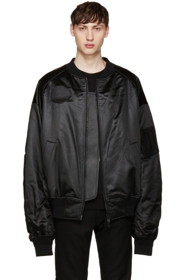 Juun.J - Black Oversized Bomber Jacket