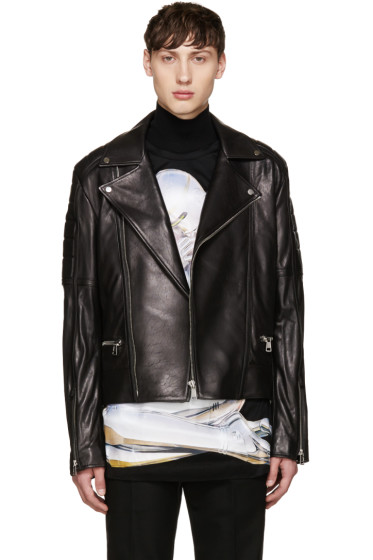Juun.J - Black Sheepskin Biker Jacket