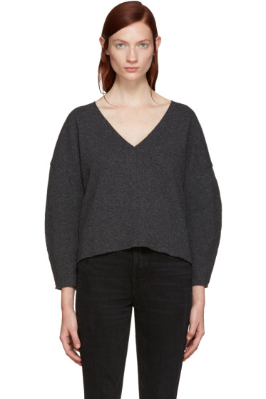 BLK DNM - Grey Wool V-Neck Sweater