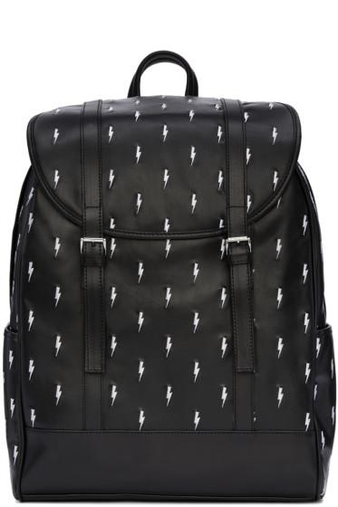 Neil Barrett - Black & White Leather Thunderbolt Backpack
