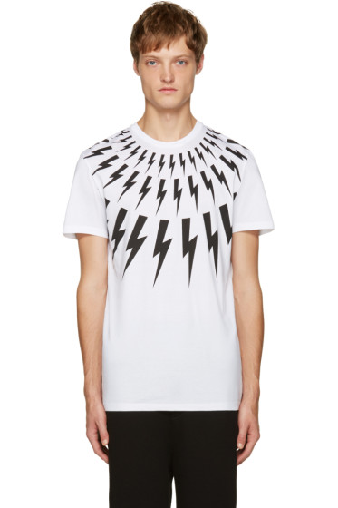 Neil Barrett - White Thunderbolt T-Shirt