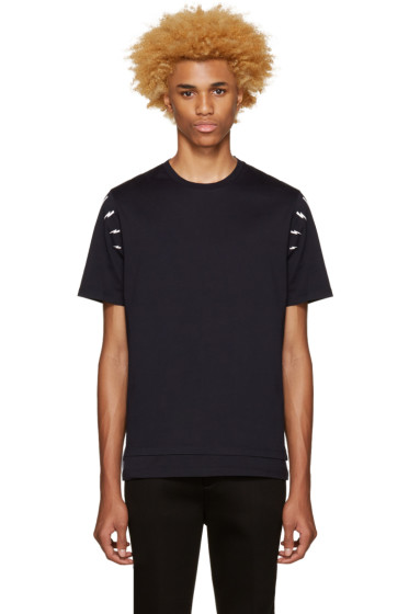 Neil Barrett - Navy Thunderbolt Shoulder T-Shirt