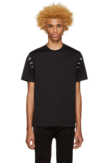 Neil Barrett - Black Thunderbolt Shoulder T-Shirt