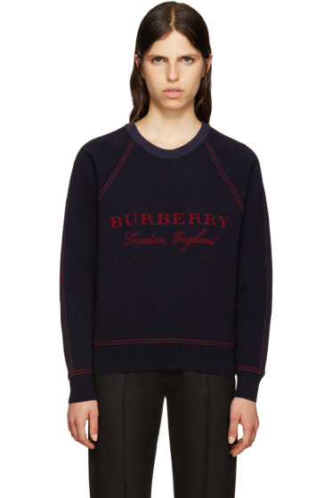 Burberry - Navy Wool Logo Sweater