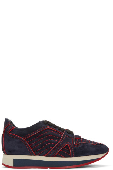 Burberry - Navy Suede Field Sneakers