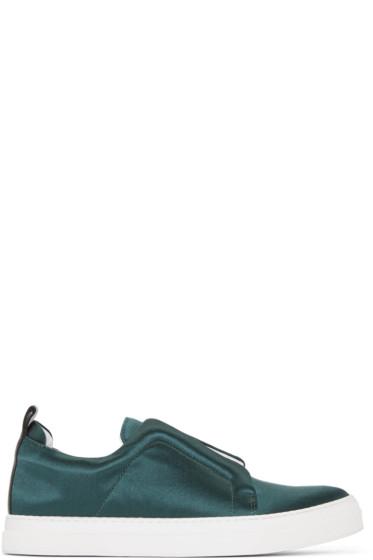 Pierre Hardy - Green Textile Slip-On Sneakers