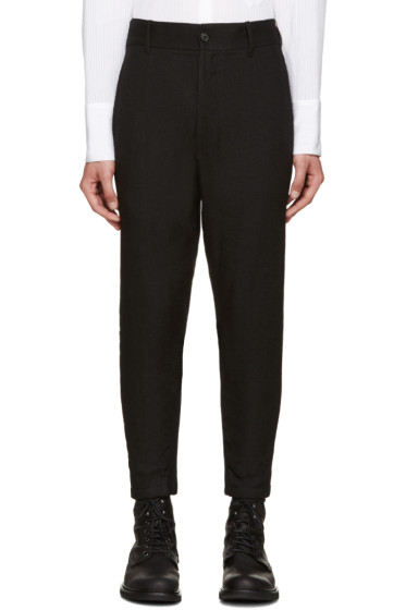 Ann Demeulemeester - Black Ribbed Cuff Trousers