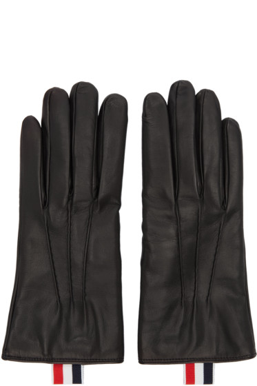 Thom Browne - Black Leather Gloves