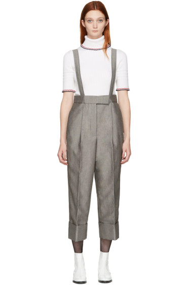 Thom Browne - Grey Single-Pleat Suspender Trousers
