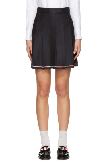 Thom Browne - Navy Pleated Miniskirt