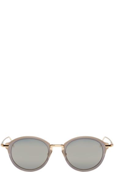 Thom Browne - Grey & Gold Round Sunglasses