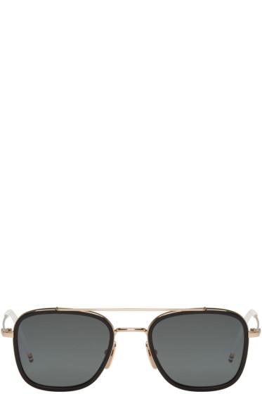 Thom Browne - Black Gold-Plated TB-800 Aviator Sunglasses