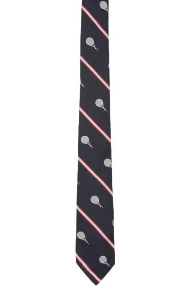 Thom Browne - Navy Silk Tennis Tie
