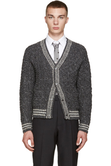 Thom Browne - Grey Cable Knit Cardigan