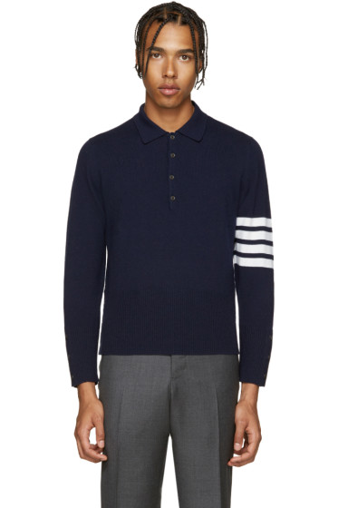 Thom Browne - Navy Cashmere Polo