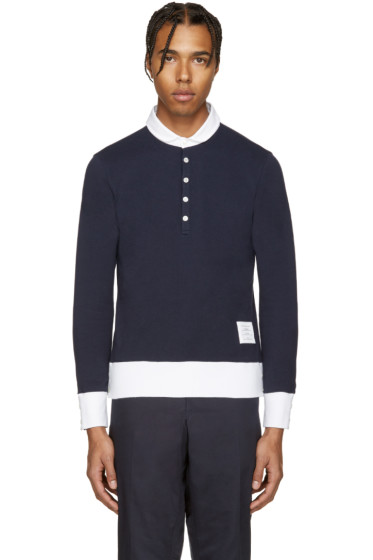 Thom Browne - Navy Long Sleeve Polo