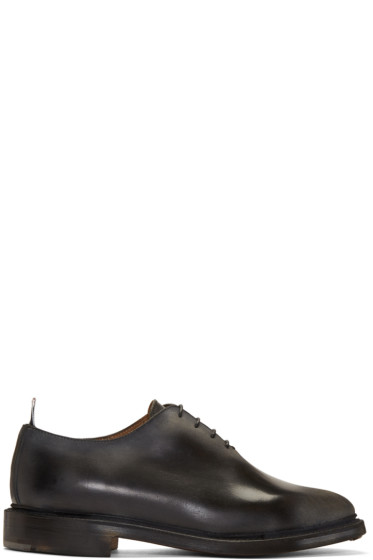 Thom Browne - Black Wholecut Distressed Oxfords