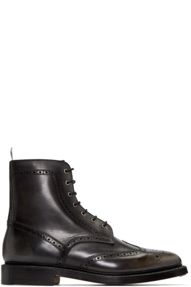 Thom Browne - Black Distressed Wingtip Boots
